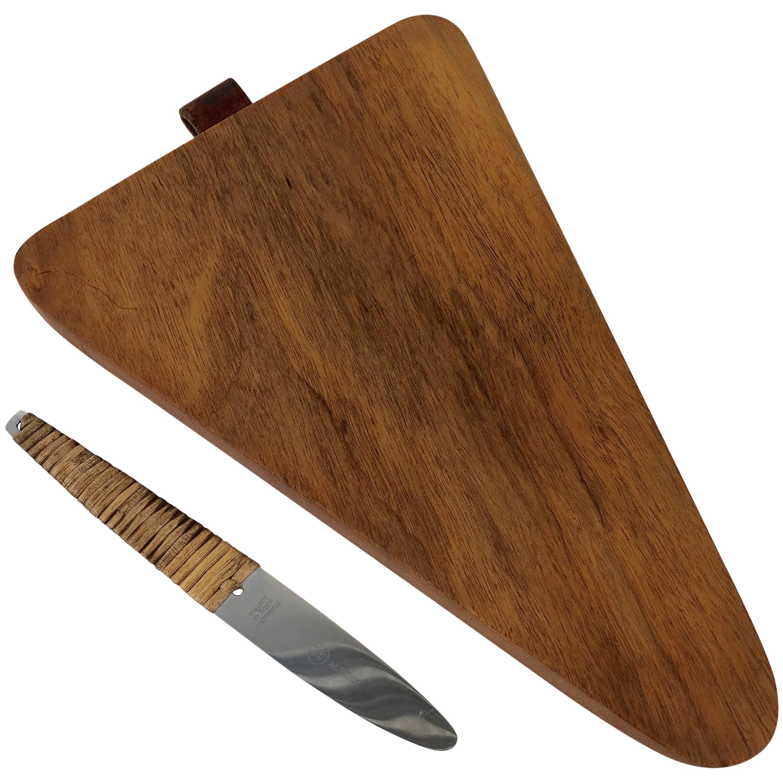 Carl Auböck Triangular Walnut Cutting Board with Amboss Knife