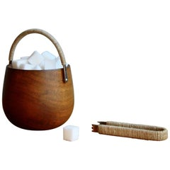 Carl Auböck Walnut Sugar Pot with Nickel-Plated Brass Rope Bound Handle & Tongs