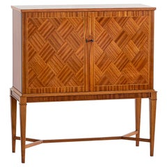 Carl-Axel Acking Attributed Bar Cabinet with Geometric Mahogany Inlay, 1940s