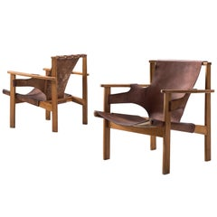 Carl Axel Acking Pair of 'Trienna' Chairs in Patinated Brown Leather