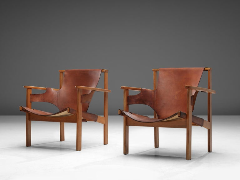 Swedish Carl-Axel Acking Pair of 'Trienna' Lounge Chairs in Oak and Leather