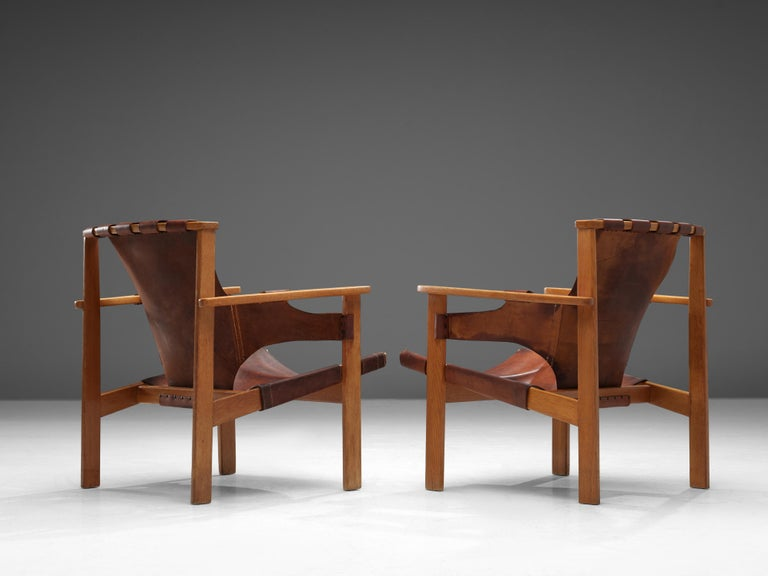 Mid-20th Century Carl-Axel Acking Pair of 'Trienna' Lounge Chairs in Oak and Leather