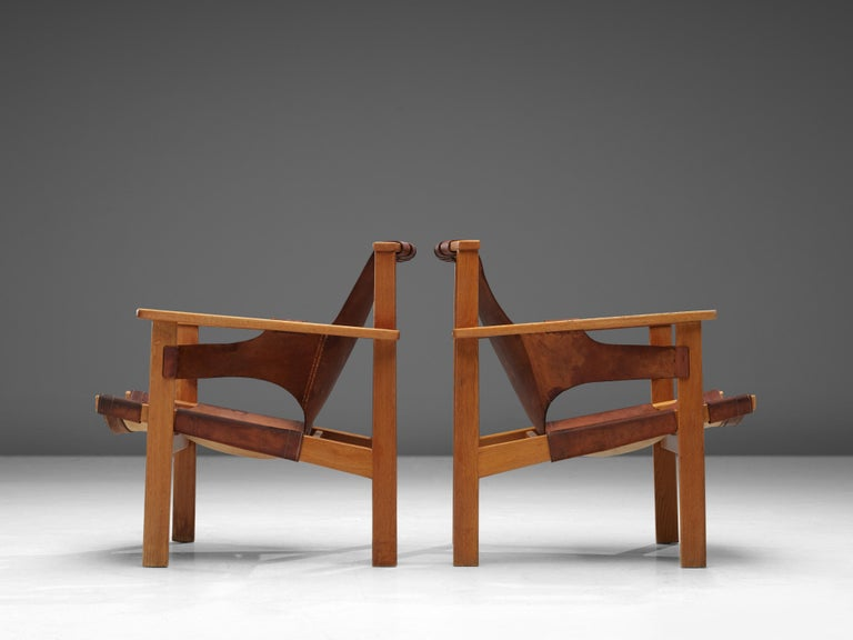 Carl-Axel Acking Pair of 'Trienna' Lounge Chairs in Oak and Leather 2
