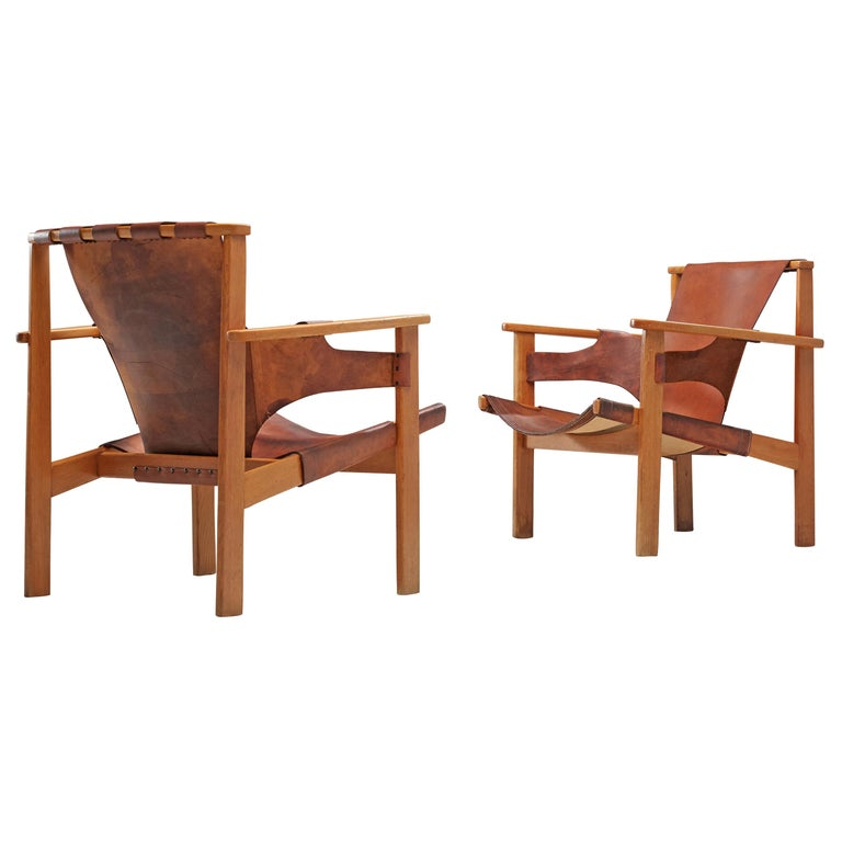 Carl-Axel Acking Pair of 'Trienna' Lounge Chairs in Oak and Leather