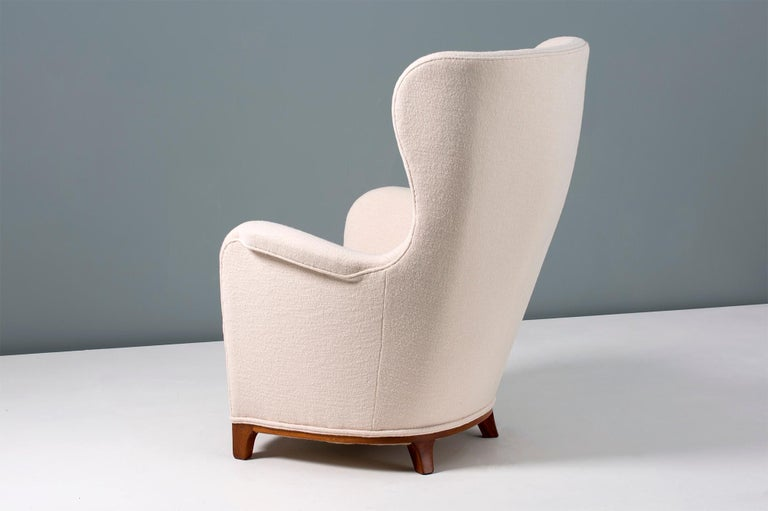 Mid-20th Century Carl-Axel Acking Swedish Wing Chair, 1940s For Sale