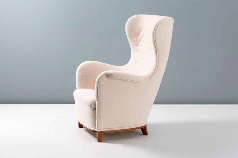 Mahogany Carl-Axel Acking Swedish Wing Chair, 1940s For Sale