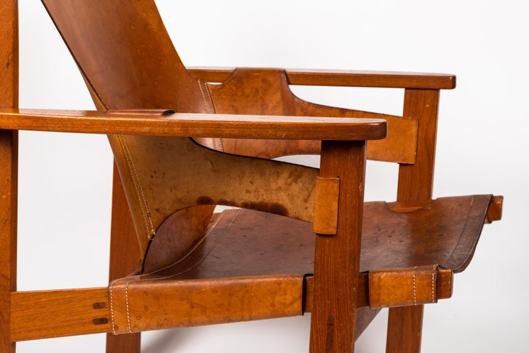 Carl Axel Acking 'Trienna' Chair in Patinated Brown Leather, circa 1957 For Sale 5