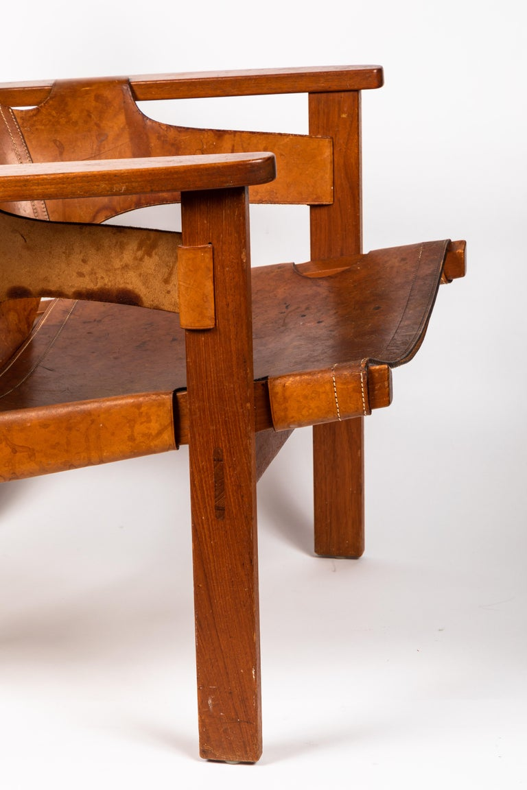 Carl Axel Acking 'Trienna' Chair in Patinated Brown Leather, circa 1957 For Sale 7