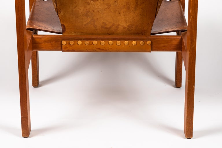 Carl Axel Acking 'Trienna' Chair in Patinated Brown Leather, circa 1957 For Sale 9