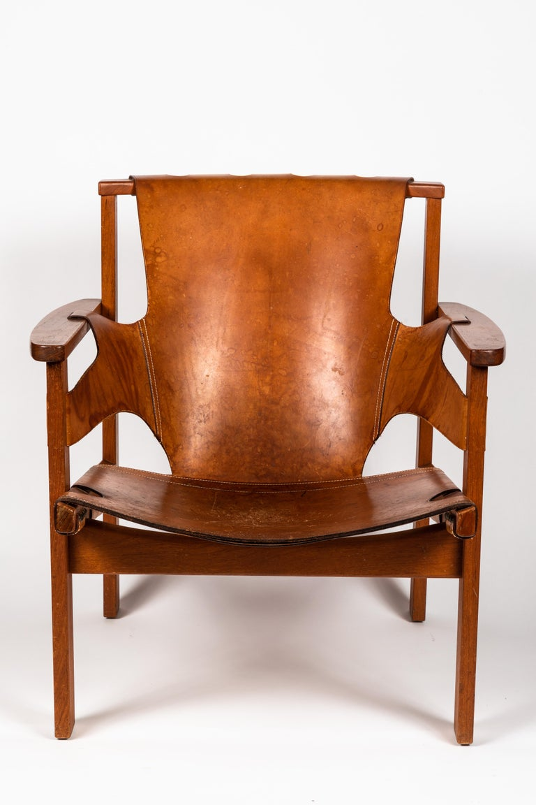 Swedish Carl Axel Acking 'Trienna' Chair in Patinated Brown Leather, circa 1957 For Sale