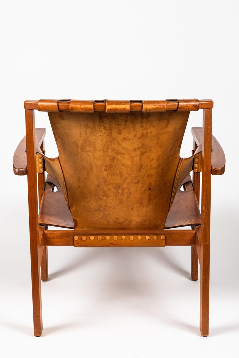 Carl Axel Acking 'Trienna' Chair in Patinated Brown Leather, circa 1957 In Good Condition For Sale In Glendale, CA