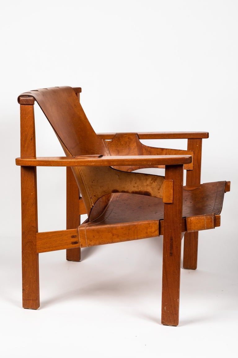 Mid-20th Century Carl Axel Acking 'Trienna' Chair in Patinated Brown Leather, circa 1957 For Sale
