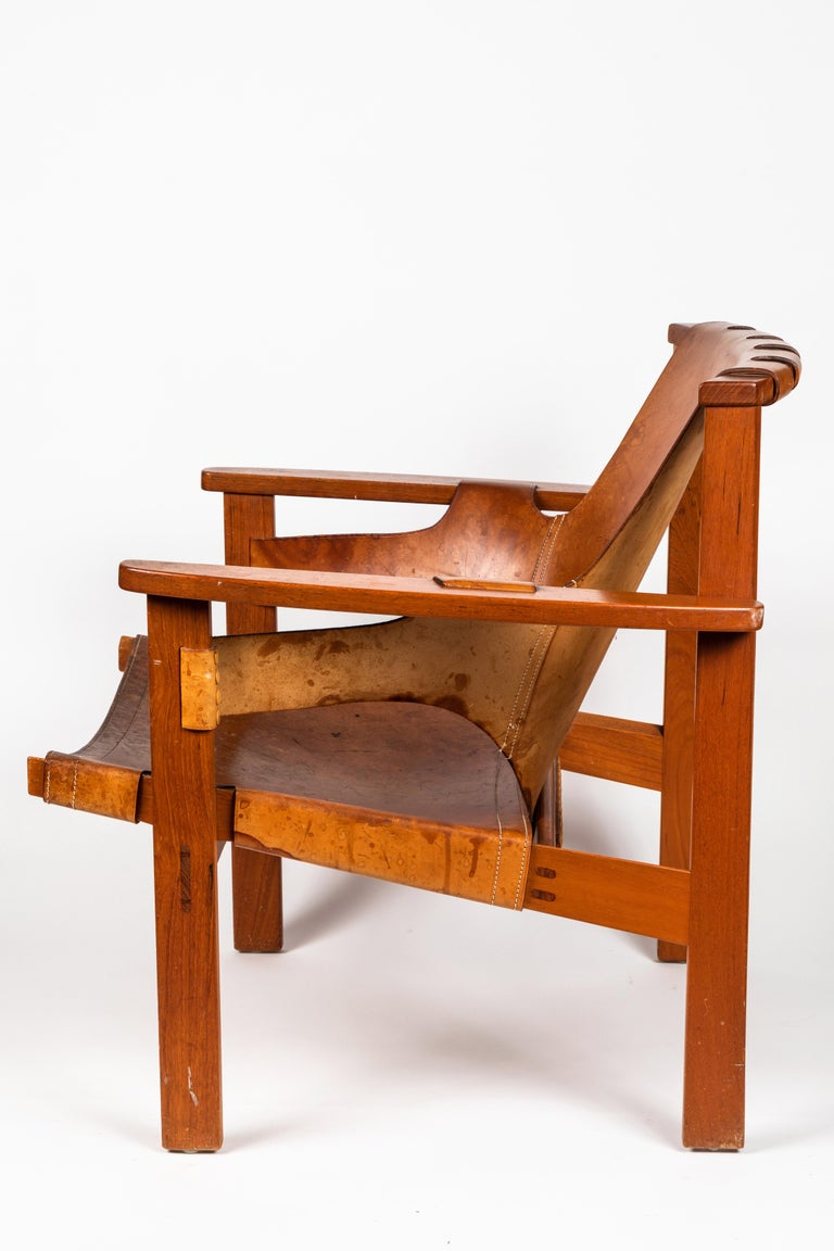 Carl Axel Acking 'Trienna' Chair in Patinated Brown Leather, circa 1957 For Sale 1