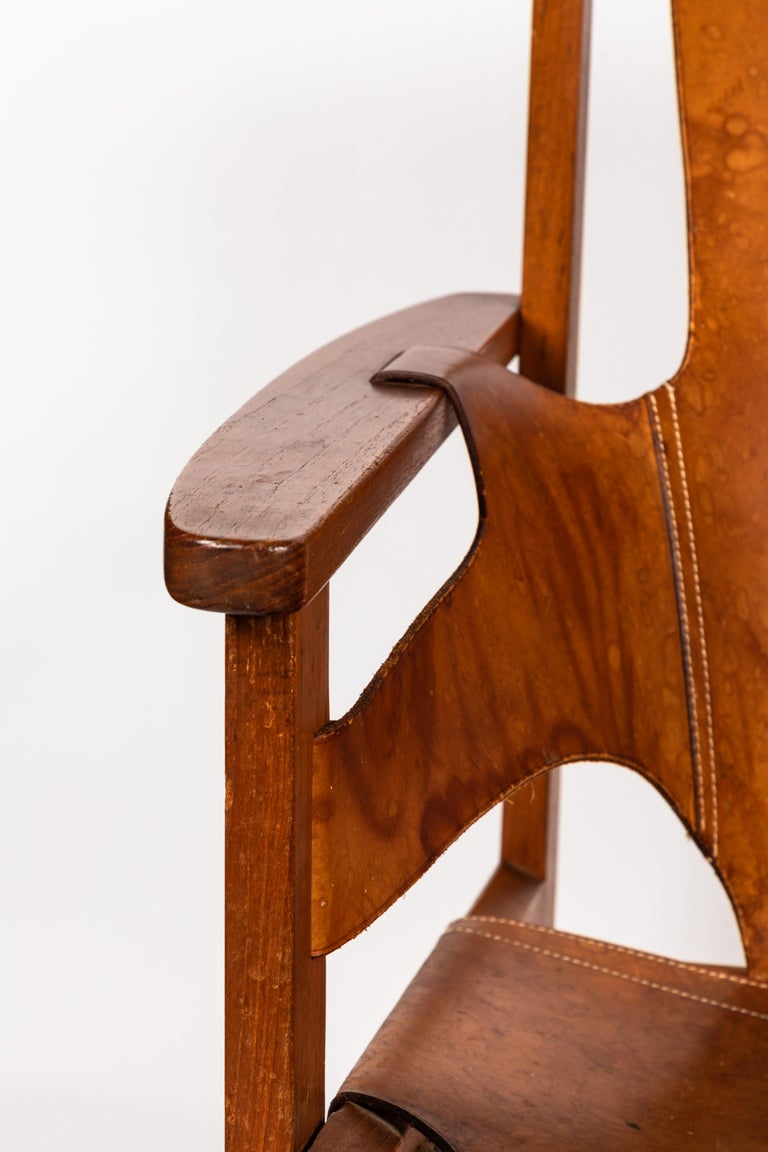 Carl Axel Acking 'Trienna' Chair in Patinated Brown Leather, circa 1957 For Sale 3
