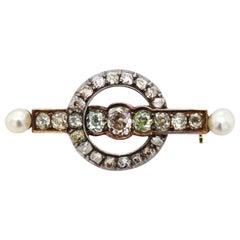 Carl Bacher Coloured Diamond Pearl Brooch, 19th Century