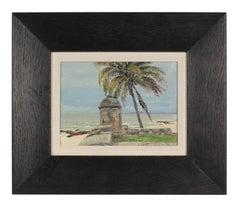 """""""Cartagena de Las Indias"""" Colombian Seascape in Oil, Circa 1948"""