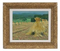 """Oat Harvest"" German Impressionist Oil Painting, Circa 1925"