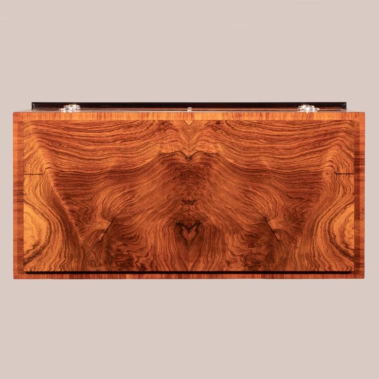 Art Deco Carl Bergsten, Fine Swedish Bois-Satine, Burl Maple & Silvered Bronze Commode For Sale