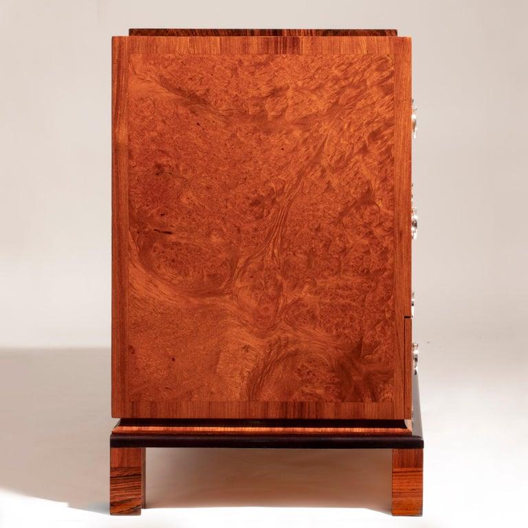 Carl Bergsten, Fine Swedish Bois-Satine, Burl Maple & Silvered Bronze Commode In Good Condition For Sale In Philadelphia, PA