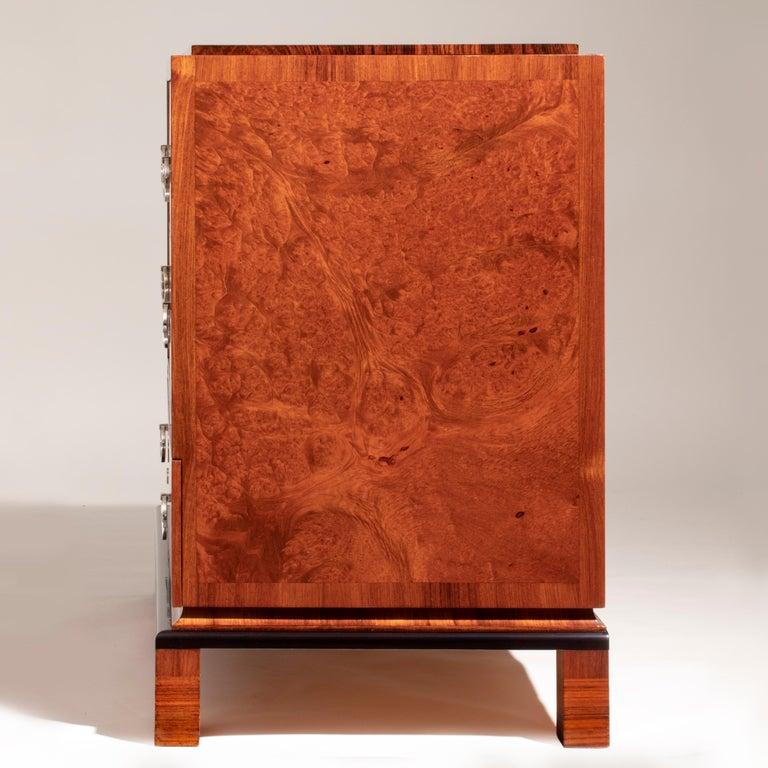 20th Century Carl Bergsten, Fine Swedish Bois-Satine, Burl Maple & Silvered Bronze Commode For Sale