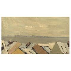 Carl Berndtsson, Sweden, Oil on Canvas, Modernist Landscape, 1960s