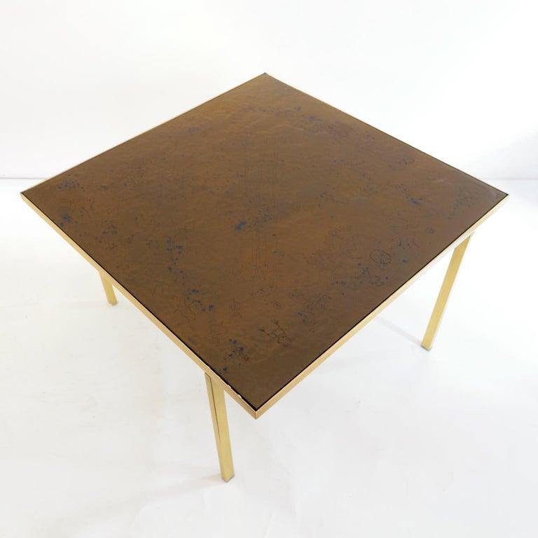 Brass Carl Bjørn, P. Törneman Enameled Triva Coffee Table Produced by Nk Stockholm For Sale