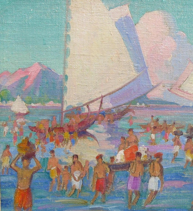 20th Century Carl Brandien, New York National Academy Artist, Oil Painting, 1930, Bali For Sale