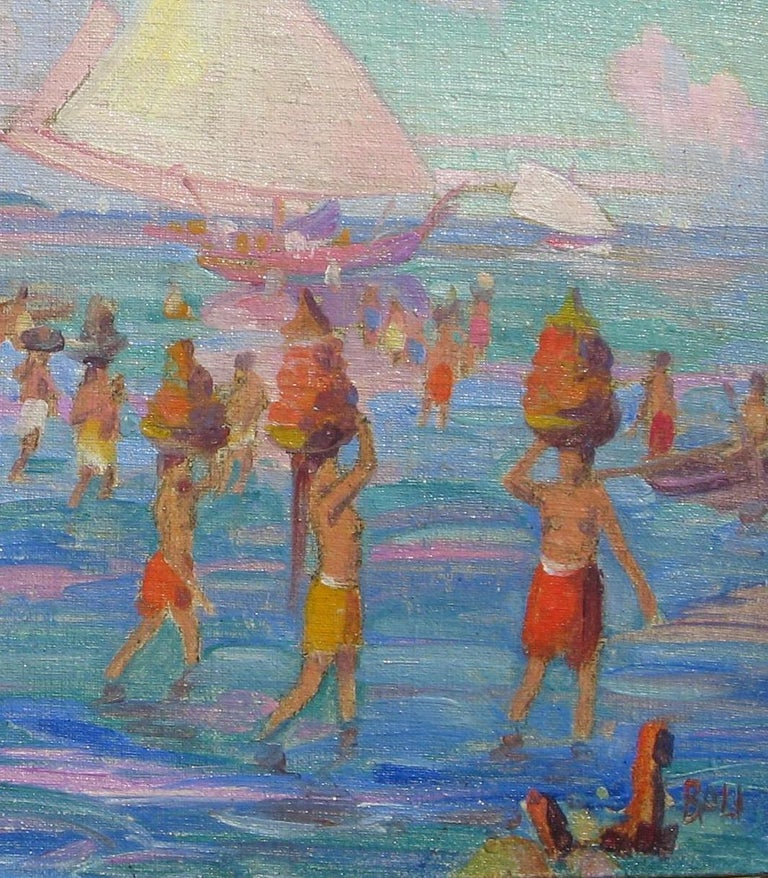Carl Brandien, New York National Academy Artist, Oil Painting, 1930, Bali For Sale 1