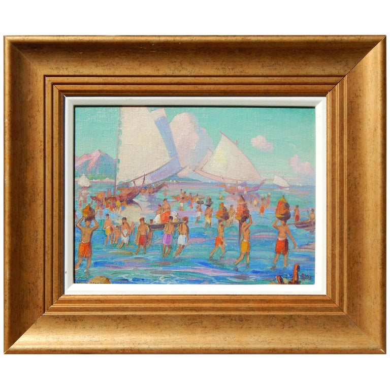 Carl Brandien, New York National Academy Artist, Oil Painting, 1930, Bali For Sale