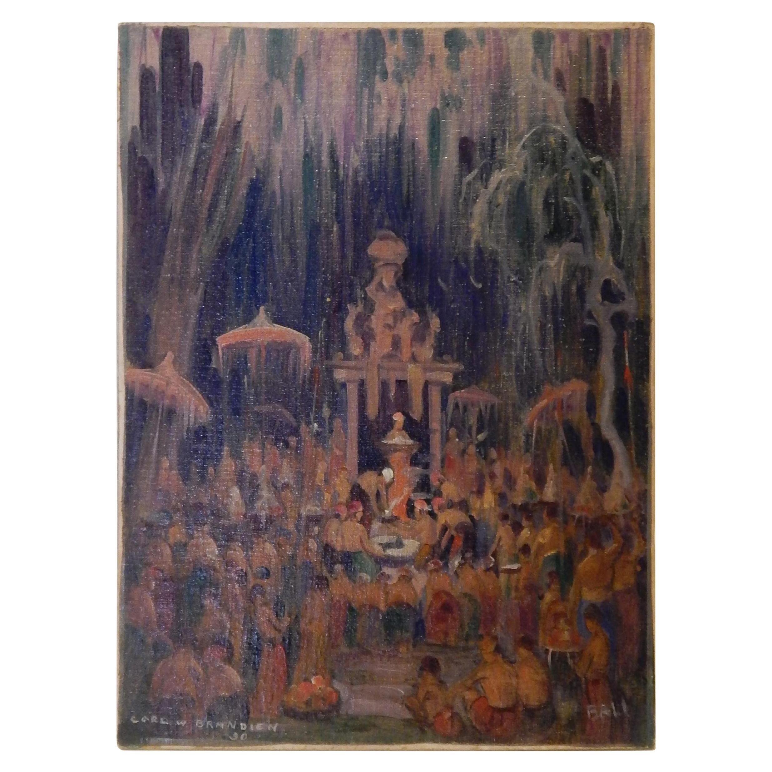 Carl Brandien New York National Academy Artist, Painting, 1930, Bali Temple