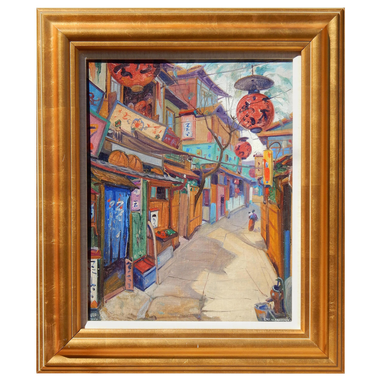 Carl Brandien New York National Academy Artist Painting, 1930, Old Kyoto