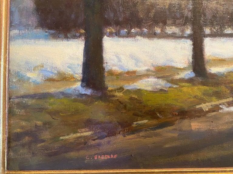 Remnants of Winter  - Black Landscape Painting by Carl Bretzke