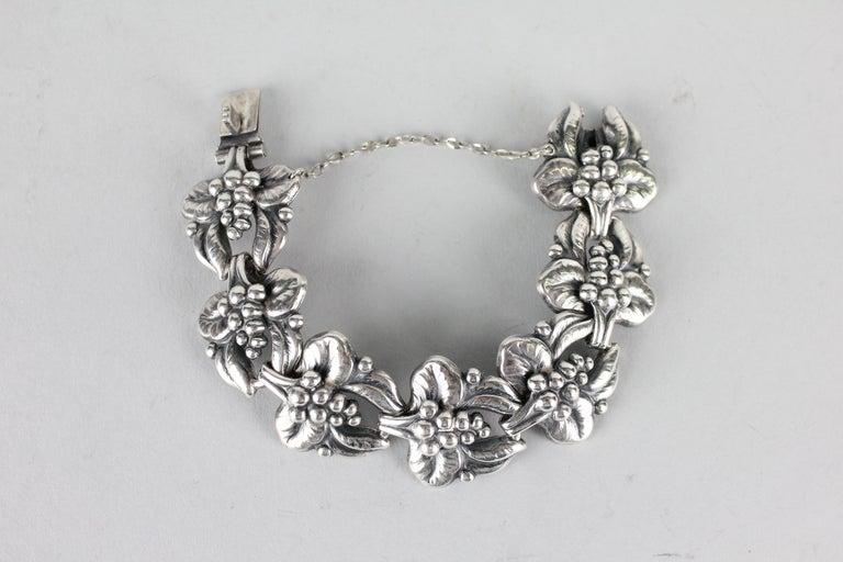 Modernist Carl Brumberg-Hansen, Danish 1940s Sterling Silver Bracelet For Sale
