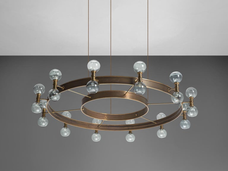Mid-20th Century Carl Corwin Grand Chandelier with Brass Rings For Sale
