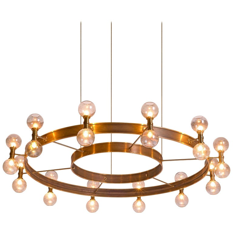 Carl Corwin Grand Chandelier with Brass Rings For Sale