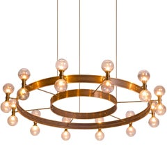 Carl Corwin Grand Chandelier with Brass Rings