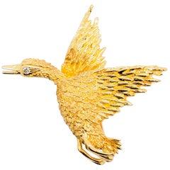Carl D Lindstrom & Sons Estate White Diamond and 18 Karat Gold Duck Brooch