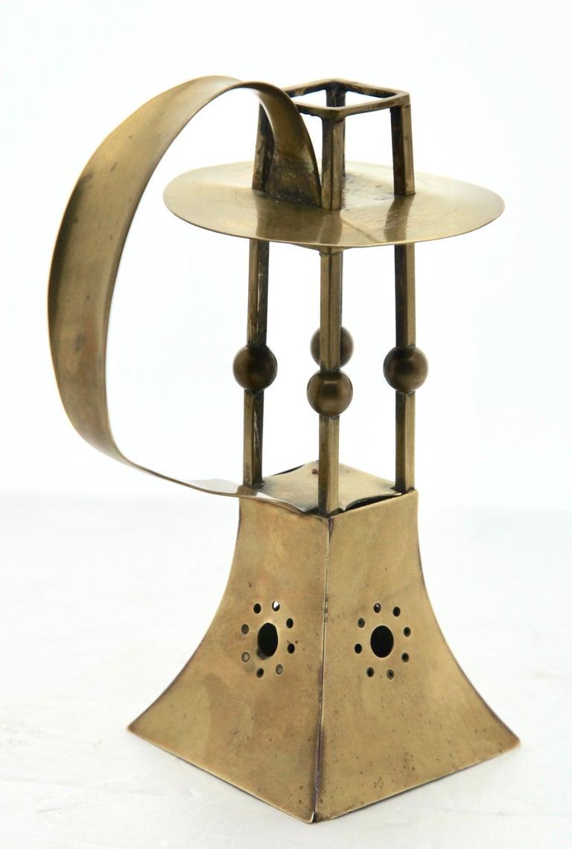 German Carl Deffner, Esslingen Arts & Crafts Copper and Brass Candleholder, circa 1900