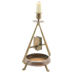 Carl Deffner, Esslingen Arts & Crafts Copper and Brass Candleholder, circa 1900