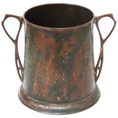 Carl Deffner German Jugendstil Wine Cooler in Hammered Copper & Cast Bronze