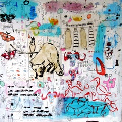 Axial Age, abstract iconography, white w blues, colors animals, text, patterns