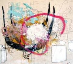 Bee-loud Glade, free form mixed media abstract gesture bright color & neutrals