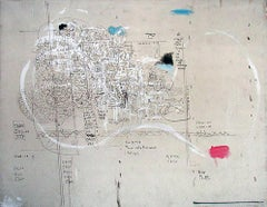 Plays, large abstract with figure and text elements on canvas