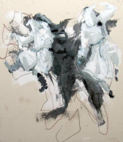 Giant Bunny Seizes Congressmen, white grey neutral colors energetic abstraction