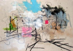 Colchester, bold energetic gestural mixed media abstraction
