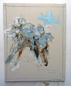 De-Worm the Kids, energetic gestural abstract w figures, mixed media