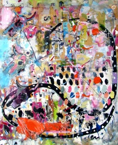 Eternal Return, colorful abstract, bold patterns figures, animals, landscape
