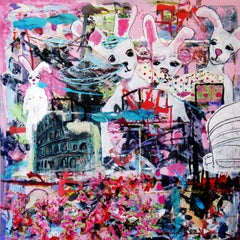 Rabbits in Rome, colorful abstract with rabbits, architecture, pink