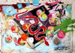 Snake as Symbol of Creeping Fascism, bright color abstract still-life, animal