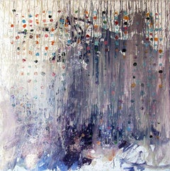 The Investigation of the Investigation, abstract oil, bold colorful dots & grey
